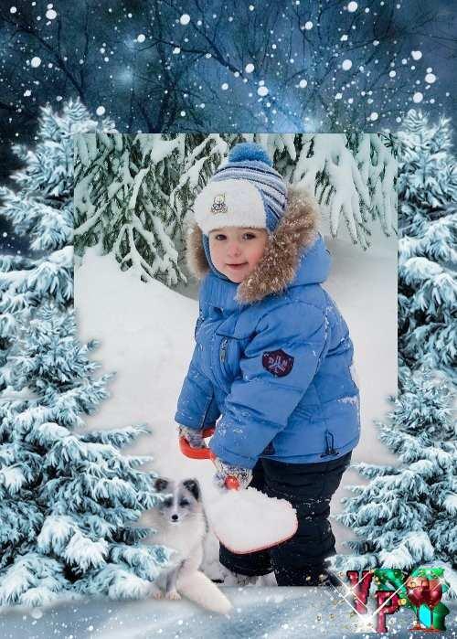 Детская рамка для фотошоп зимняя