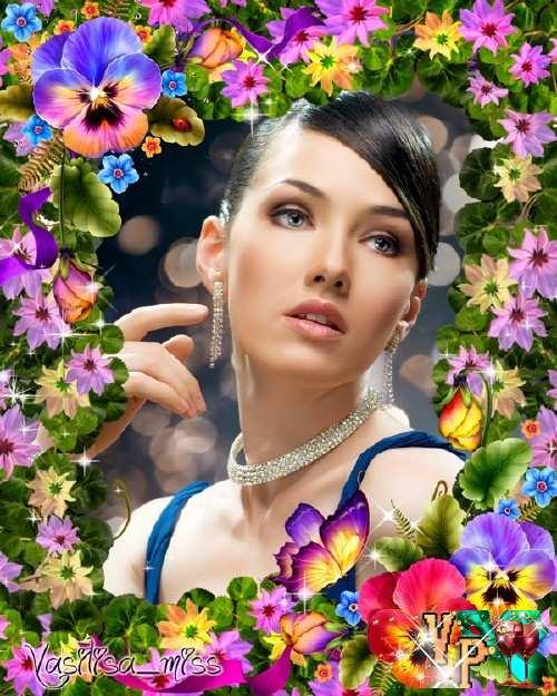 Женская рамка для фотошопа цветочный