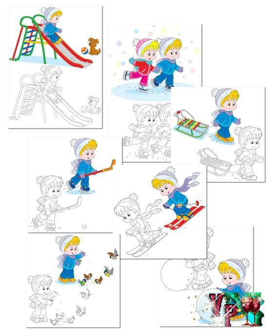 Раскраска с примерами до 5