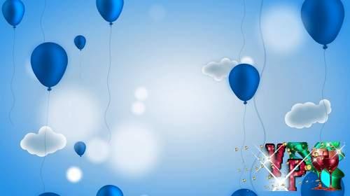 Футаж с воздушными шарами в облаках