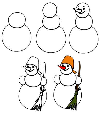 Рисовать поэтапно снеговика