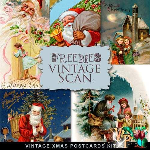Винтажные Рождественские скрап открытки