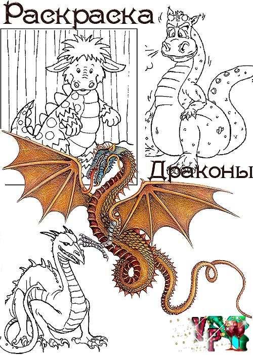 Детские раскраски драконы