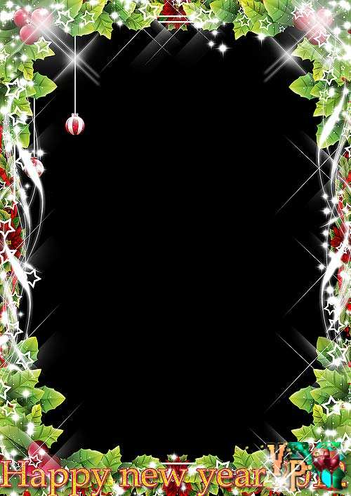 Новогодняя рамка для фотошопа – Огни нового года