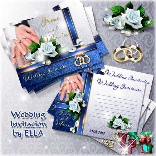 Приглашения на свадьбу с розами и свадебными кольцами 3