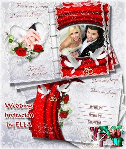 Многослойные двухсторонние PSD исходники - Приглашение на свадьбу 2