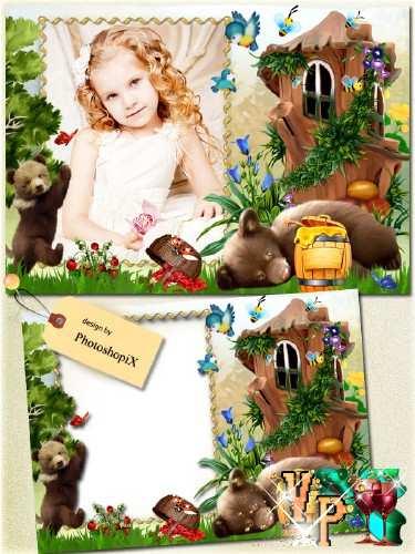Детская рамка с медведями для фотошопа – Любители меда
