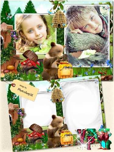 Рамка для детей с медведем – Бочка меда
