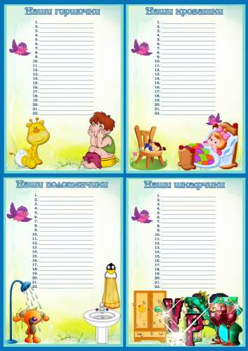 Списки на шкафчики, полотенца, кроватки и горшочки