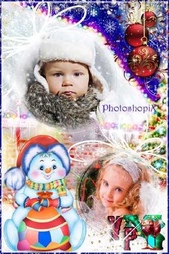 Фоторамка для зимних фотографий – Он не мал и не велик, снежно белый снеговик
