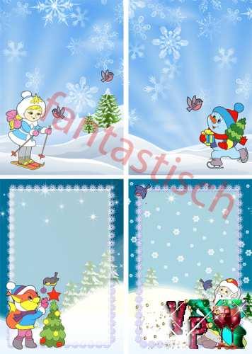 Зимние и новогодние фоны для оформления часть 2