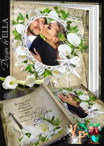 Шаблон свадебной фотокниги - Беллые каллы и лилии