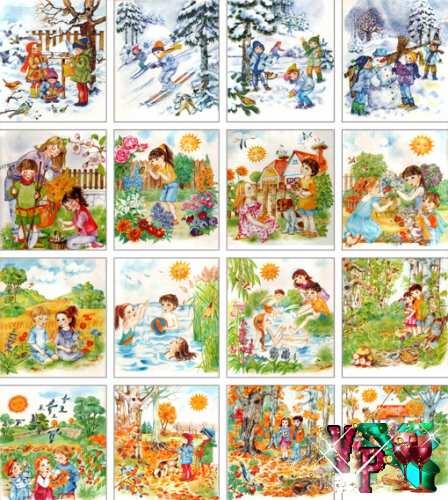 Иллюстрации для занятий в детском саду - Времена года