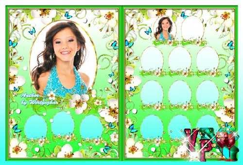 Школьная виньетка - Весенние цветы и бабочки