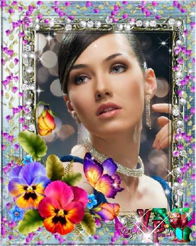 Женская рамка - Весна, цветы, бабочка