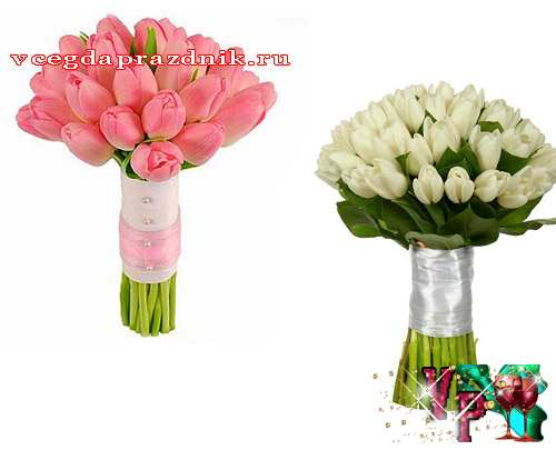 Свадебные букеты из тюльпанов для невесты