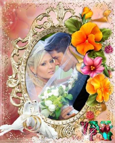 Свадебная фоторамка с нежными цветами, блеском и голубями