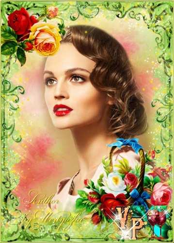 Корзина с розами - рамка для фотошопа