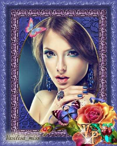 Цветочная рамка - Благоухание роз и прелестные бабочки