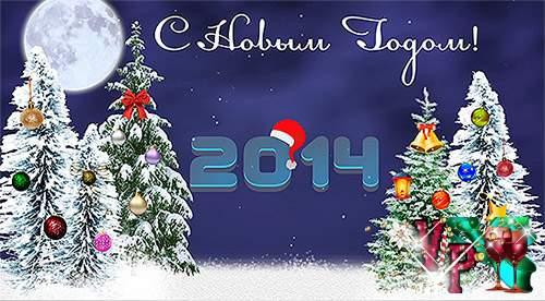 Новогодний футаж 2014 – падающий снег, елочные игрушки и поздравления