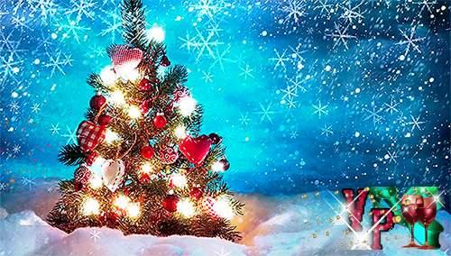 Новогодний футаж с елкой и падающим снегом