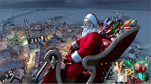 Новогодний футаж – Пролетающий над городом Санта Клаус