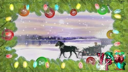 Видео футаж HD - Везем домой Новогоднюю елку