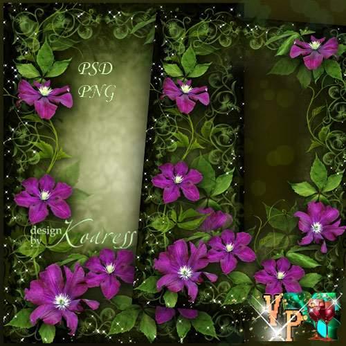 Рамка для романтических фотографий с цветами клематиса - Яркие, чудесные цветы
