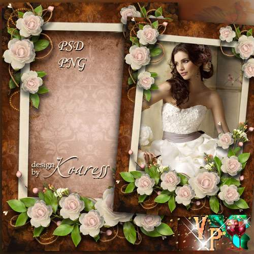 Винтажная рамка для фотошопа - В аромате нежных роз
