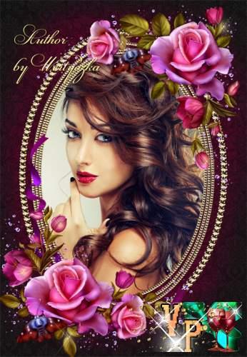 Рамка для фотошопа - Аромат волшебных роз волнует чувства и приводит в восхищение