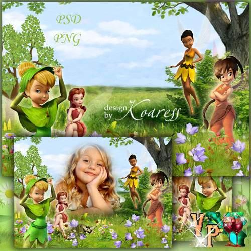 Фоторамка для девочек с героями мультфильма Диснея - На лесной поляне феи