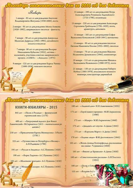 Знаменательные даты 2015 года для библиотек