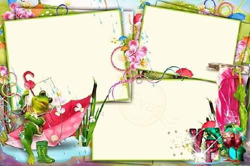 Детская рамочка для фото - Веселая лягушка