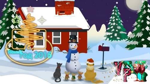 Видео футаж HD - лепим снеговика новогодний
