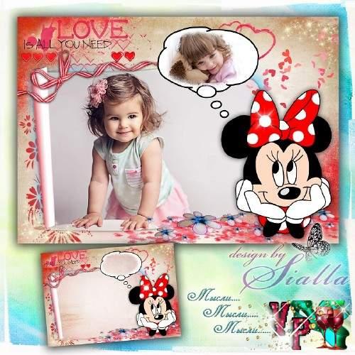 Рамка для фотошопа детская -  Мысли Минни Мауса