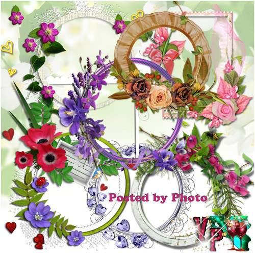 Рамки-вырезы для оформления творческих работ - Цветы