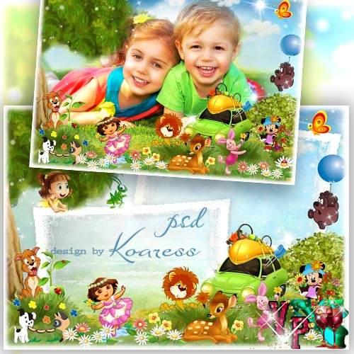 Детская фоторамка с героями любмиых мультфильмов -  Наш пикник веселый