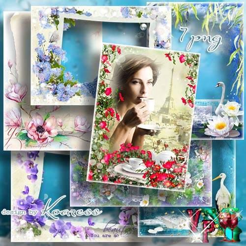 Цветочные рамки для фото в формате png - Нежных цветов аромат